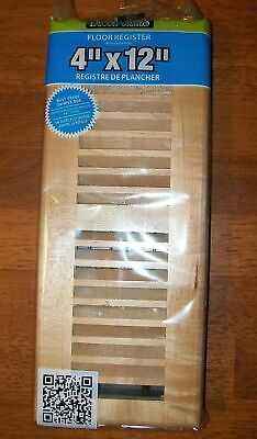 "Decor Grates WML412-N 4"" by 12"" Floor Register, Louvered Solid Natural Maple"