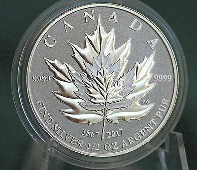 2017 CANADA $4 Silver Maple Leaf 1/2 oz Reverse proof from Fractional set