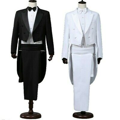 Men Tailcoat Tuxedo Suit and Trousers Set Formal Prom Dress Wedding Costume Cool