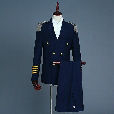 Men Peak Lapel Airline Pilot Captain Suit Aviator Costume Uniform Jacket Retro