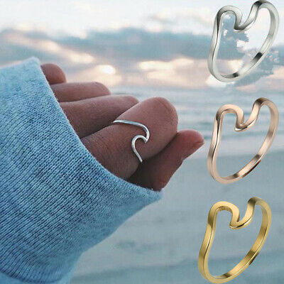 2Pcs Simple Wedding Finger Rings Band Women Wave Ring Gold Silver Jewelry