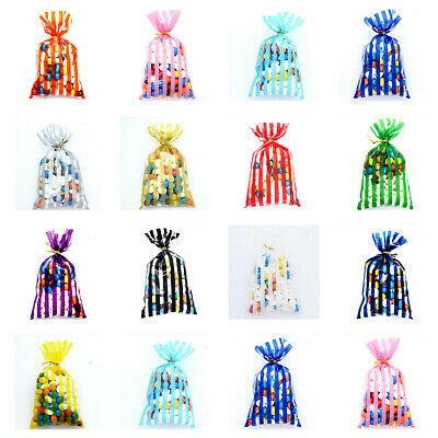 CELLOPHANE Coloured Stripe Bags-Sweets Treats Party Favour Gift Postage Free