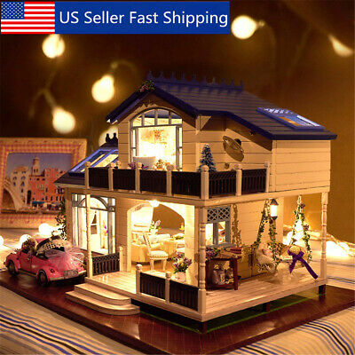 DIY Doll House Miniature Kit Toy Furniture LED Light Gift with Dustproof Cover