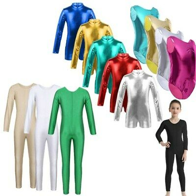 Girls Kids Gymnastics Dance Leotard Costume Metallic Dancewear Jumpsuit Catsuit
