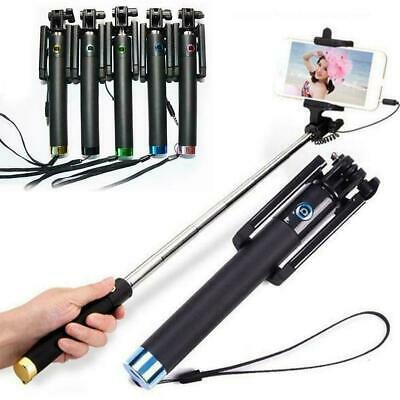 Extendable Wired Selfie Stick Holder Remote Shutter Monopod For Smart Phone