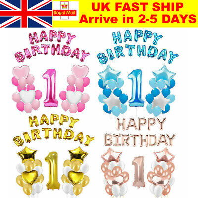 1st Happy Birthday Foil Balloons One-year-old Baby Boy Girl Number 1 Party Decor