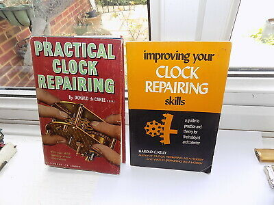 PRACTICAL CLOCK REPAIRING by DONALD DE CARLE HARDBACK + DUST COVER + ONE OTHER
