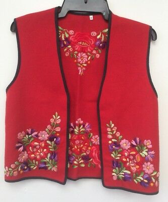 Vintage Kalocsa Embroidered Vest Adult Size 38 Red Wool Hand Embroidered Exc