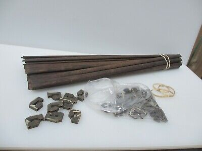 """Antique Wooden Stair Rods x18 Architectural Art Deco Old x29 brass clips -28""""L"""