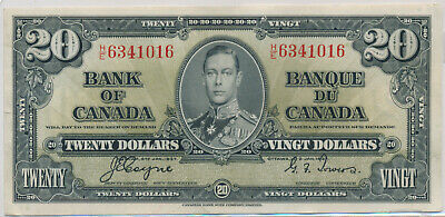 Bank Of Canada 20 Dollar 1937 He6341016 Bc25C - Ef