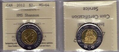 "2012 Canada ""HMS Shannon"" Two Dollar ICCS MS-64"