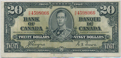 Bank Of Canada 20 Dollar 1937 He4598066 Bc25C - Vf