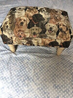 Dogs design tweed tapestry effect foot stool pouffe with drawer Dog lover gift