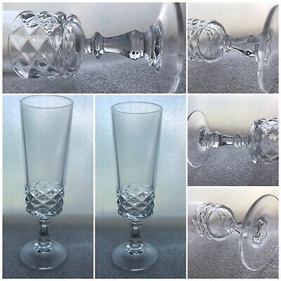 Four Quality English Lead Crystal Champagne Glasses.