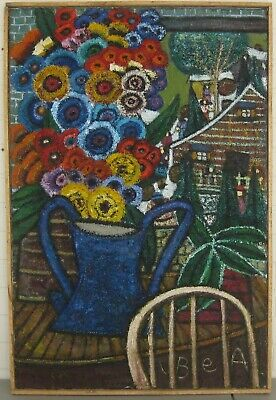Vintage BEA HAVERBUSCH 'Bouquet' FLOWER PAINTING - Self Taught Naive FOLK ARTIST