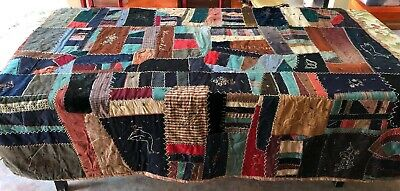 """Crazy Quilt 78"""" X 74"""" EMBELLISHED Embroidery Wool Cotton Velvet Featherstitch"""