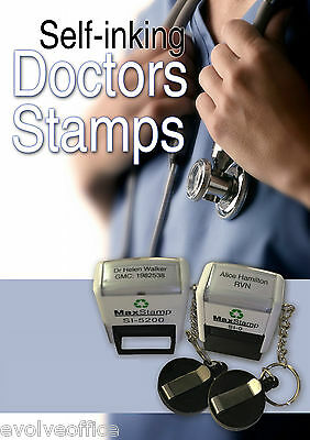 PERSONALISED NHS Doctor Nurses Rubber Stamp Self Inking Pocket Size with Keyring