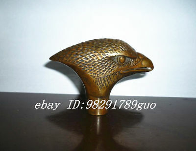 Asian Chinese Old Bronze Hand Carved Eagle Statue Cane Walking Stick Head
