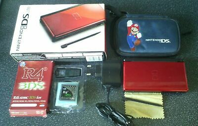 Nintendo Ds Lite Red Console Eu Charger 40 Games Super Mario Kart Case Box