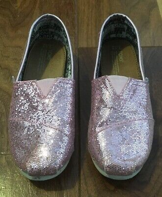 Gorgeous Little Girls Pink Sparkles Toms Lightweight Shoes Size Y 12 From Ny Usa