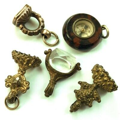 Five Beautiful Antique Pocket Watch Fobs / Seals / Spinner / Compass