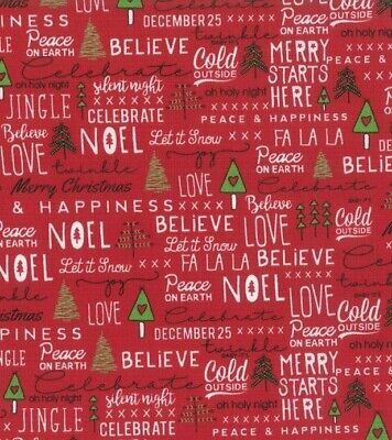 Christmas Words That Start With A.Christmas Words Fabric 100 Cotton Yard Benartex Seasons