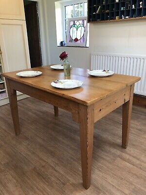 Antique PINE Farmhouse KITCHEN TABLE, Old Wooden Victorian Dining Table.