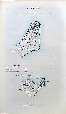 HARWICH - Original Antique Map + Boundary Commission Report, 1837.