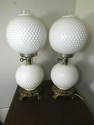 2 Vintage 1960s ACCURATE CASTING Hobnail  Victorian Hurricane Table Lamps EXC.