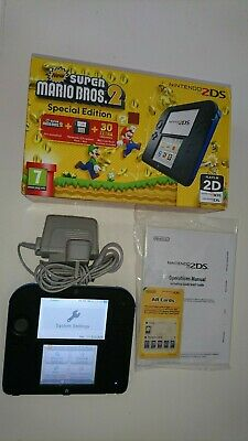 Boxed Black & Blue Nintendo 2DS Console New Super Mario Bros 2 Special Edition
