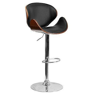 Super Walnut Bentwood Adjustable Height Bar Stool With Button Dailytribune Chair Design For Home Dailytribuneorg