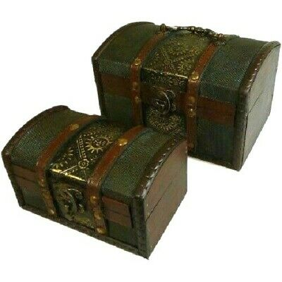 Set of 2 Rustic Wooden Colonial Style Trunk Treasure Chests Vintage Storage Box