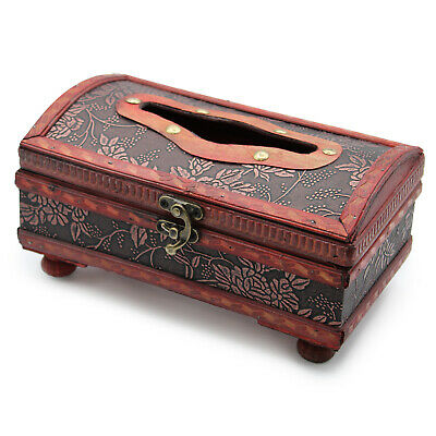 Wooden Hand Crafted Classic Glamour Tissue Box Colonial Retro Antique Style Box