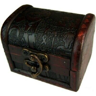 Rustic Wooden Colonial Style Trunk Treasure Chest Vintage Storage Box Egypt Embo