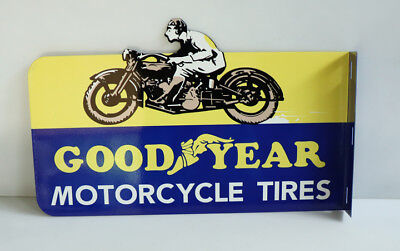 GOODYEAR MOTORCYCLE TIRES Flange Sign with Man Harley gas    Modern Retro