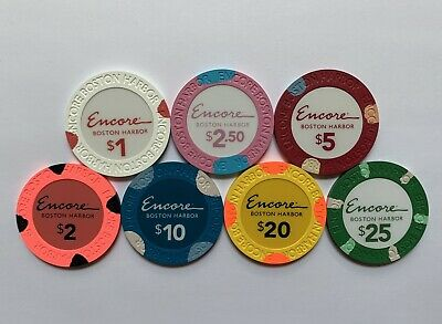 New Rare Encore Boston Harbor Casino Grand Opening Gaming Poker Chips Sample Set