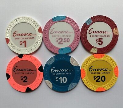 New Rare Encore Boston Harbor Grand Opening Gaming Poker Chips Sample Set