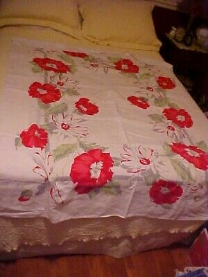 Vintage Printed Linen Tablecloth w/ Lg Red Poppies & White Daisies