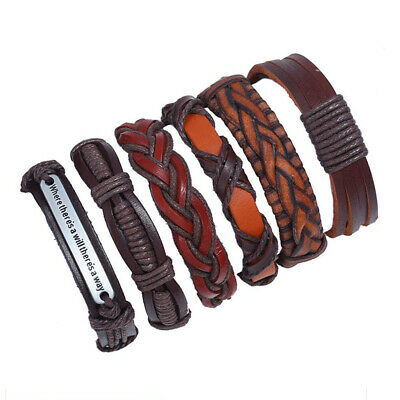 6pcs Fashion Men's Leather Wrap Braided Wristband Cuff Punk Wide Bracelet Bangle