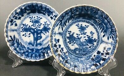 Chinese Export Blue and White Kangxi Plates Saucers Dish Set 2 NR