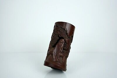 A Carved Bamboo 'Scholar under a pine tree' Brushpot