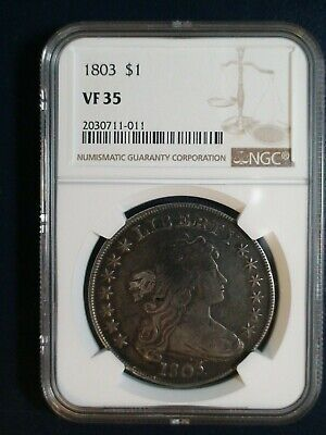 1803 DRAPED BUST DOLLAR NGC VF35 small 3 SILVER $1 Coin PRICED TO SELL NOW!
