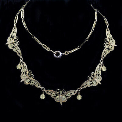 Antiguo Art Nouveau Collar 18CT Oro Mariposas Cadena Francés Filigrana (6396)