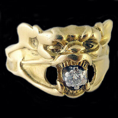 Antiguo Art Nouveau Anillo Diamante Oro Murciélago Monster Francés