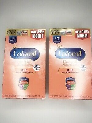 Lot of 2 ENFAMIL A.R. Infant Formula 2 Powder Refills Expires April 2020 Sealed