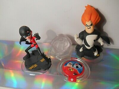 Disney Infinity Incredibles Violet & Syndrome Figures Power Disc w 3 Way Crystal