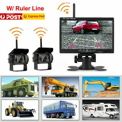 "WIRELESS 7"" MONITOR REVERSING CAMERA REAR VIEW KIT 12V 24V TRUCK,CARAVAN, Boat"