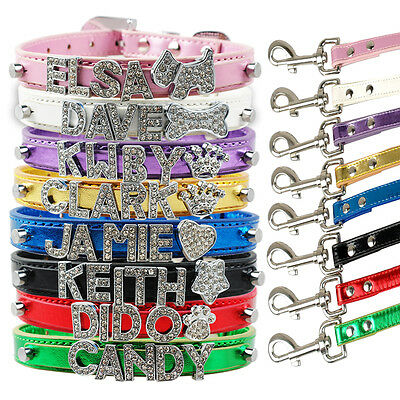 Rhinestone Bling Personalised Letter Charm Dog Collar & Leads Pet Cat Name XS-L