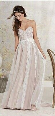 Alfred Angelo Pink/ivory Lace Wedding Dress