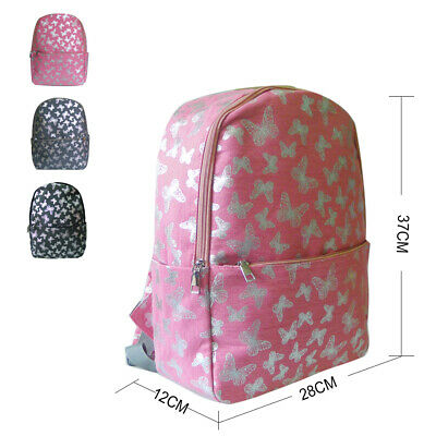 New Womens Butterfly Print Canvas Single Pocket Backpack Girls School Bag